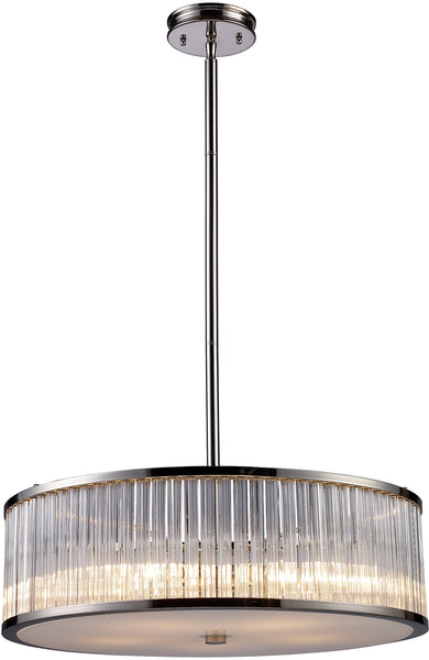 Elk Lighting Braxton 5-Light Pendant Polished Nickel with Transparent Glass 101295