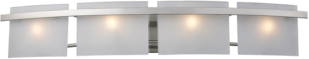 "36""w Briston 4-Light Halogen Bath Vanity Satin Nickel with Translucent Glass"
