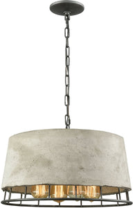 Brocca 4-Light Chandelier Silverdust Iron/Concrete Shade