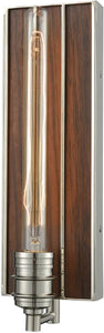 Brookweiler 1-Light Wall Sconce Polished Nickel/Dark Wood Backplate