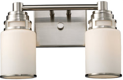 "14""w Bryant 2-Light Bath Vanity Satin Nickel with White Glass"