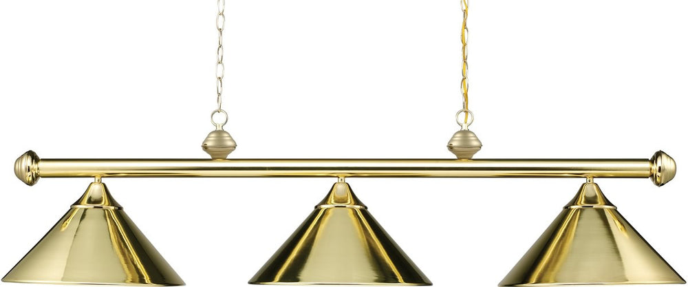 "51""w Casual Traditions 3-Light Billiar/Pool/Kitchen Island Polished Brass"
