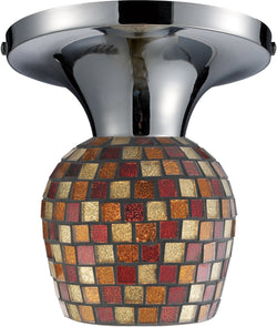 Elk Lighting Celina 1-Light Semi Flush Mount Polished Chrome with Multi Fusion Glass 101521PCMLT