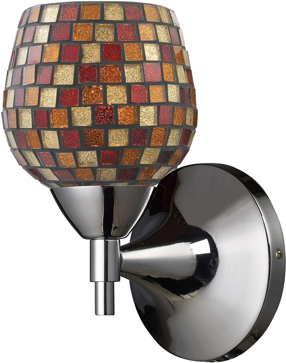 "6""w Celina 1-Light Wall Sconce Polished Chrome with Multi Fusion Glass"