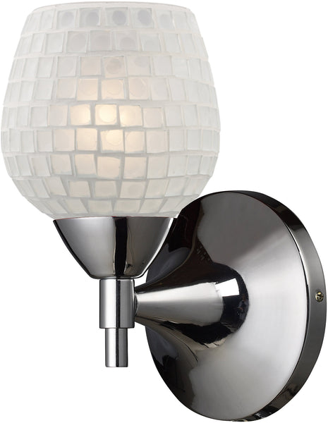 Elk Lighting Celina 1-Light Wall Sconce Polished Chrome with White Glass 101501PCWHT