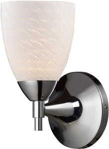 Elk Lighting Celina 1-Light Wall Sconce Polished Chrome with White Swirl Glass 101501PCWS
