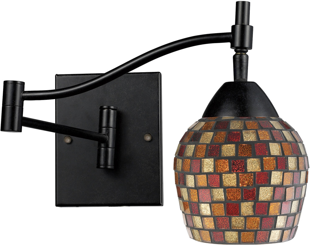 "22""w Celina 1-Light Swing Arm Wall Sconce Dark Rust with Multi Fusion Glass"