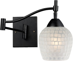 Elk Lighting Celina 1-Light Swing Arm Wall Sconce Dark Rust with White Glass 101511DRWHT