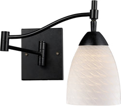 Elk Lighting Celina 1-Light Swing Arm Wall Sconce Dark Rust with White Swirl Glass 101511DRWS