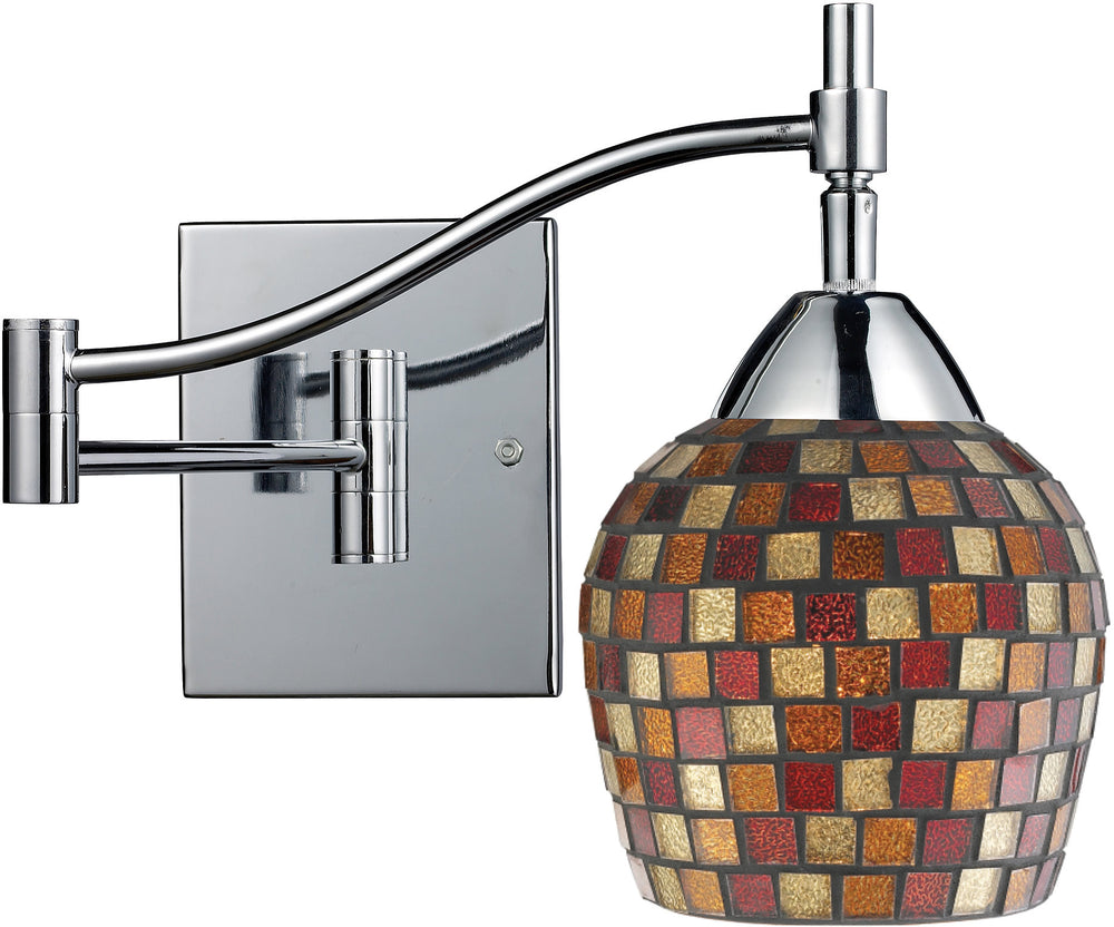 "22""w Celina 1-Light Swing Arm Wall Sconce Polished Chrome with Multi Fusion Glass"
