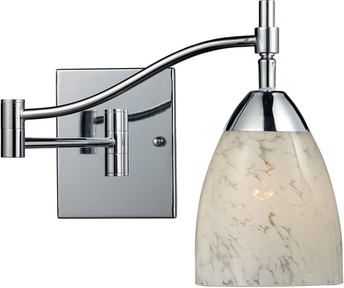 Elk Lighting Celina 1-Light Swing Arm Wall Sconce Polished Chrome with Snow White Glass 101511PCSW