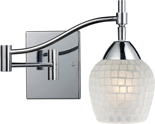 Elk Lighting Celina 1-Light Swing Arm Wall Sconce Polished Chrome with White Glass 101511PCWHT
