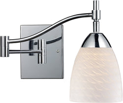 Elk Lighting Celina 1-Light Swing Arm Wall Sconce Polished Chrome with White Swirl Glass 101511PCWS