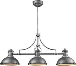 Chadwick 3-Light Island Weathered Zinc/Frosted Glass Diffusers
