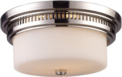 "13""w Chadwick 2-Light Flush Mount Polished nickel"