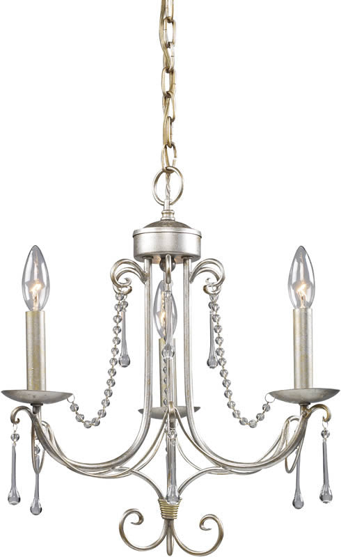 "15""w Cambridge 3-Light Chandelier Antique Silver"