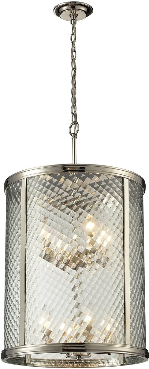 "18""W Chandler 8-Light Pendant Polished Nickel"