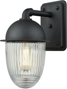Channing 1-Light Outdoor Wall Sconce Matte Black/Clear Ribbed Glass