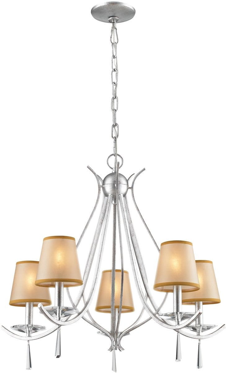 "25""w Clarendon 5-Light Chandelier Silver"