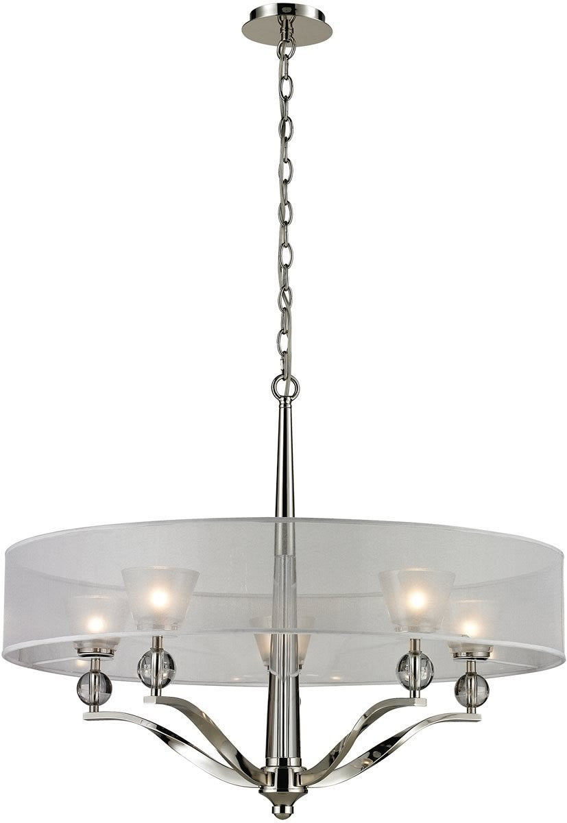 "30""W Corisande 5-Light Chandelier Polished Nickel"