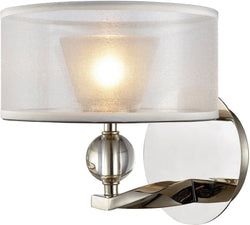 Elk Lighting Corisande 1-Light Vanity Polished Nickel/Silver Organza Shade 322901