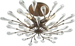 Elk Lighting Crislett 4-Light Semi Flush Sunglow Bronze/Clear Crystal 182414