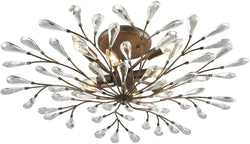 Elk Lighting Crislett 8-Light Semi Flush Sunglow Bronze/Clear Crystal 182428