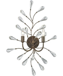 Elk Lighting Crislett 2-Light Wall Sconce Sunglow Bronze/Clear Crystal 182402
