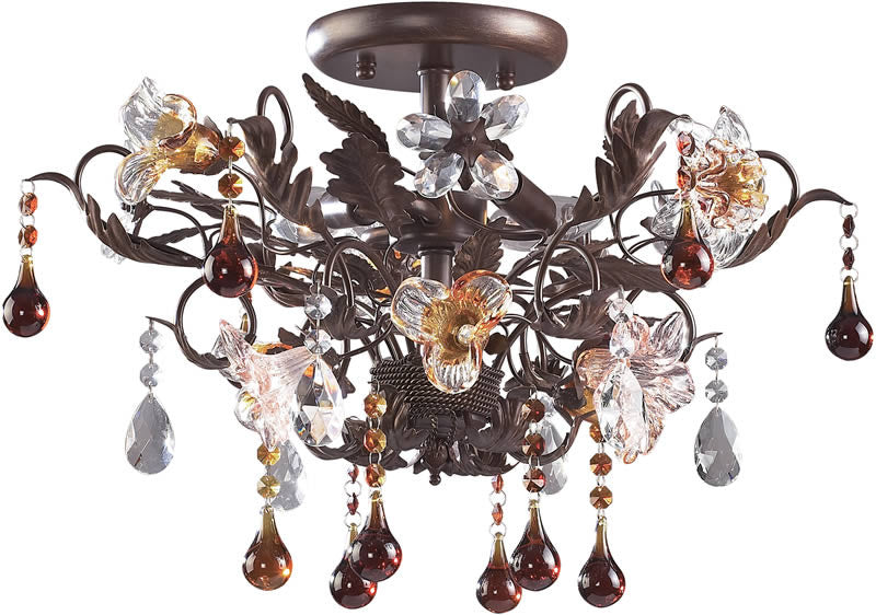 "19""w Cristallo Fiore 3-Light Semi-Flush Mount Deep Rust"