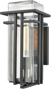 Elk Lighting Croftwell 1-Light Outdoor Wall Sconce Textured Matte Black/Clear Glass 451861