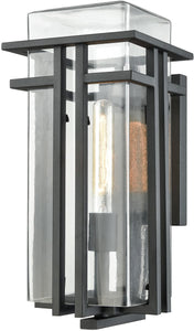 Elk Lighting Croftwell 1-Light Outdoor Wall Sconce Textured Matte Black/Clear Glass 451871