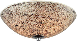 Elk Lighting Crosshatch 3-Light Flush Polished Chrome/Painted Crosshatch Mosaic Glass 107303