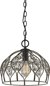 Elk Lighting Crystal Web 1-Light Penant Bronze Gold/Matte Black/Clear Crystal 811061