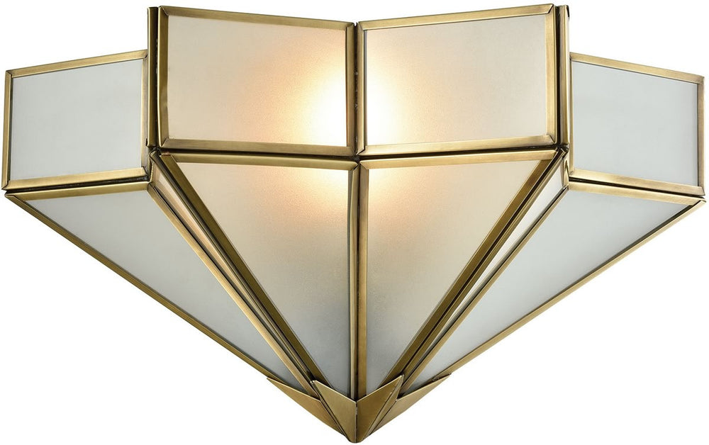 "14""W Decostar 1-Light Wall Sconce Brushed Brass/Frosted Glass"