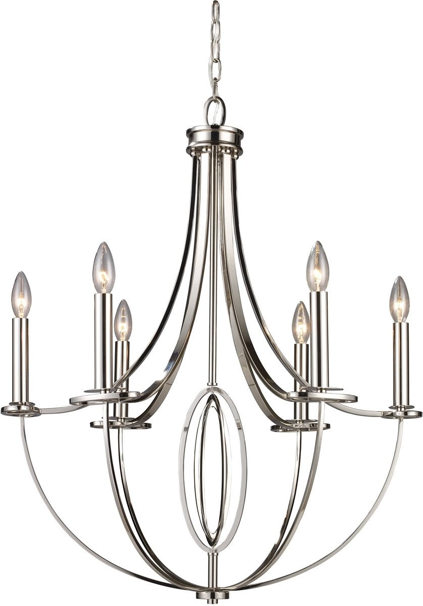 "25""W Dione 6-Light Chandelier Polished Nickel"