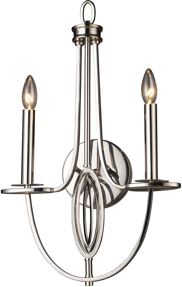 "15""W Dione 2-Light Sconce Polished Nickel"