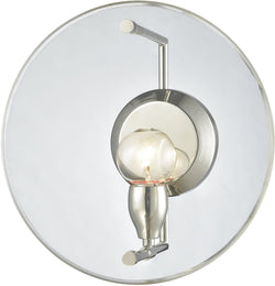 Disco 1-Light Wall Sconce Polished Nickel/Clear Acrylic Panel