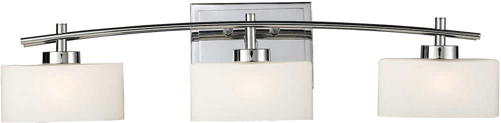 "29""W Eastbrook 3-Light Halogen Bath Vanity Polished Chrome with White Glass"