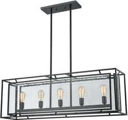 Elk Lighting Eastgate 5-Light Chandelier Textured Black/Seedy Glass 652625