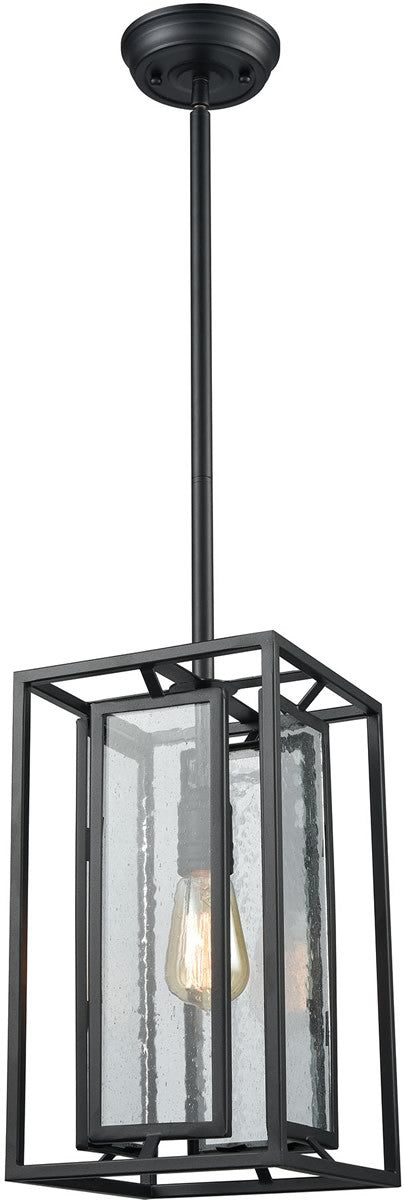 "8""W Eastgate 1-Light Pendant Textured Black/Seedy Glass"