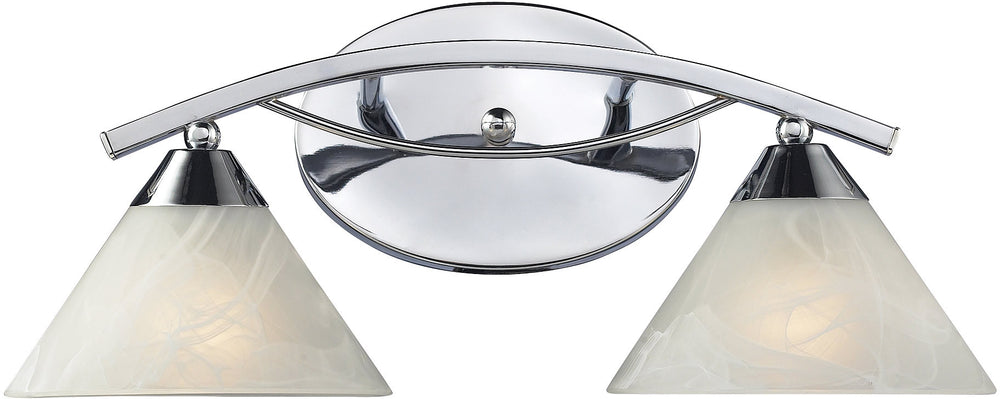 "18""W Elysburg 2-Light Bath Vanity Polished Chrome with White Glass"
