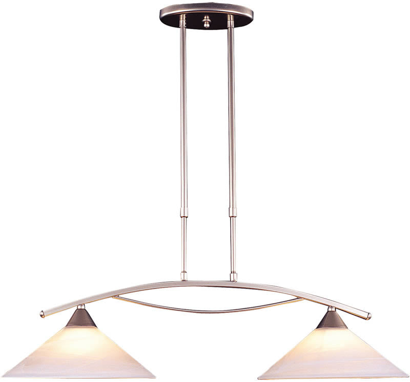 "12""W Elysburg 2-Light Kitchen Island Pendant Satin Nickel/Tea Swirl"