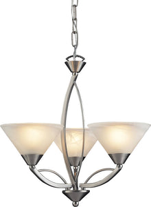 Elk Lighting Elysburg 3-Light Chandelier Satin Nickel/Marbelized White 76353