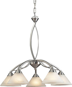 Elk Lighting Elysburg 5-Light Chandelier Satin Nickel/Marbelized White 76365