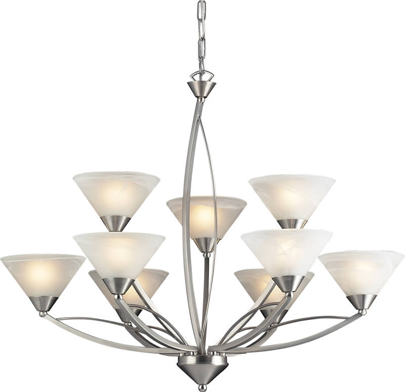 "34""W Elysburg 9-Light Chandelier Satin Nickel/Marbelized White"