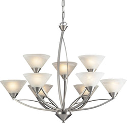 Elk Lighting Elysburg 9-Light Chandelier Satin Nickel/Marbelized White 763863