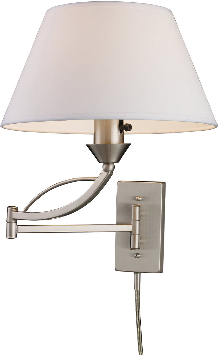 "12""W Elysburg 1-Light Swing Arm Wall Sconce Satin Nickel with White Shade"