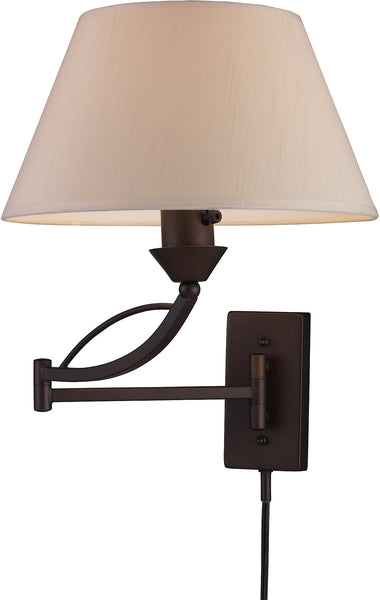 Elk Lighting Elysburg 1-Light Swing Arm Wall Sconce Aged Bronze with White Glass 170261