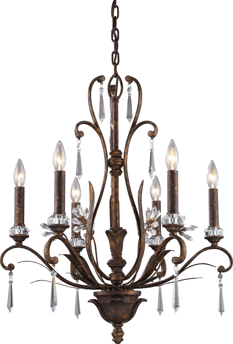 "23""w Emilion 6-Light Chandelier Burnt Bronze with Transparent Glass"