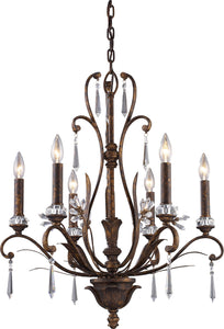 Elk Lighting Emilion 6-Light Chandelier Burnt Bronze with Transparent Glass 21836